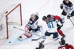 Jeff Skinner of Canada vs Harri Sateri of Finland and Antti Pihlstrom of Finland during the 2017 IIHF Men's World Championship group B Ice hockey match between National Teams of Canada and Finland, on May 16, 2017 in AccorHotels Arena in Paris, France. Photo by Vid Ponikvar / Sportida