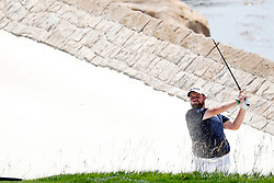 June 11, 2019 - Pebble Beach, CA, U.S. - PEBBLE BEACH, CA - JUNE 11: PGA golfer Shane Lowry hits out of a sand trap on the 18th hole during a practice round for the 2019 US Open on June 11, 2019, at Pebble Beach Golf Links in Pebble Beach, CA. (Photo by Brian Spurlock/Icon Sportswire) (Credit Image: © Brian Spurlock/Icon SMI via ZUMA Press)