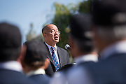 Milpitas Mayor Jose Esteves presents his Memorial Day Reflection speech during the City of Milpitas Memorial Day ceremony at Milpitas City Hall in Milpitas, California, on May 30, 2016. (Stan Olszewski/SOSKIphoto)