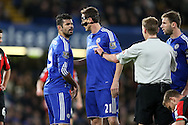 Diego Costa of Chelsea looks on at Referee Michael Jones. Barclays Premier league match, Chelsea v AFC Bournemouth at Stamford Bridge in London on Saturday 5th December 2015.<br /> pic by John Patrick Fletcher, Andrew Orchard sports photography.