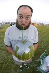 Michael Gwynn Drinking From Watermelon