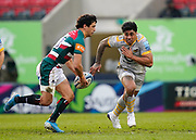 Wasps Centre Malakai Fekitoa lines up to tackle Leicester Tigers centre Matías Moroni during a Gallagher Premiership Round 10 Rugby Union match, Friday, Feb. 20, 2021, in Leicester, United Kingdom. (Steve Flynn/Image of Sport)