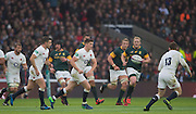 Twickenham, United Kingdom. left to right, George FORD, keeps pace with Owen FARRELL,  as he passes to Elliot DALY, during the  Old Mutual Wealth Series match: England vs South Africa, at the RFU Stadium, Twickenham, England, Saturday, 12.11.2016<br /> <br /> [Mandatory Credit; Peter Spurrier/Intersport-images]