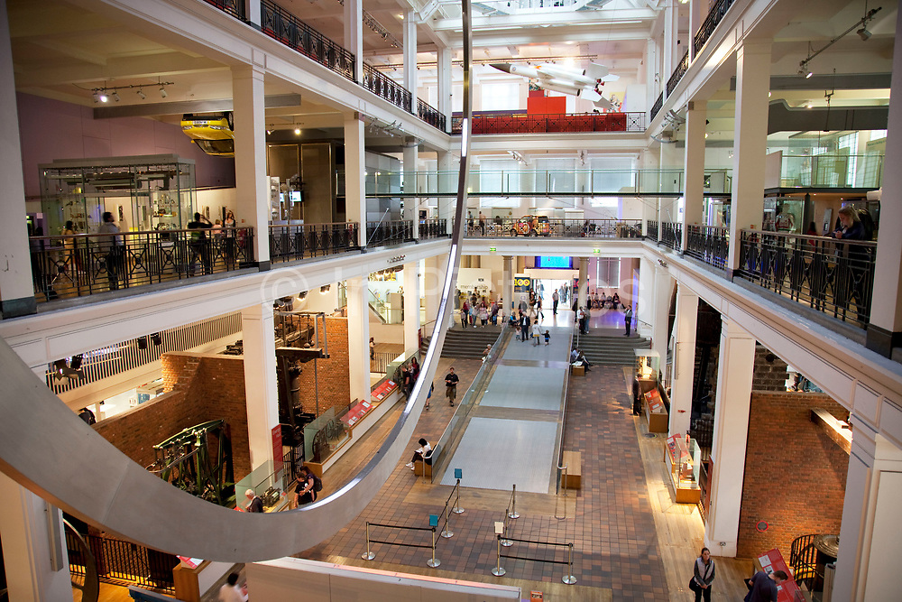 Large circular sculpture dominates the huge Energy Hall. The Science Museum, London. The Science Museum was founded in 1857 with objects shown at the Great Exhibition of 1851. Today the Museum is world renowned for its historic collections, awe-inspiring galleries and inspirational exhibitions.