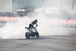 Burn out for a stunt bike show during Motor Bike Expo. Verona, Italy. January 24, 2016.  Photography ©2016 Michael Lichter.