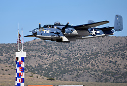 September 13, 2018 - Reno, Nevada, U.S. - RENO, NV - SEPTEMBER 13: B-25 Mitchell bomber from the Commemorative Air Force at the 55th National Championship Air Races the only closed course pylon racing event in the world, and is the world's longest running air race held in Reno, NV. (Photos by Lyle Setter/Icon Sportswire) (Credit Image: © Lyle Setter/Icon SMI via ZUMA Press)