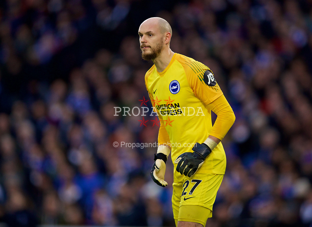 BRIGHTON AND HOVE, ENGLAND - Saturday, January 12, 2019: Brighton & Hove Albion's goalkeeper David Button during the FA Premier League match between Brighton & Hove Albion FC and Liverpool FC at the American Express Community Stadium. (Pic by David Rawcliffe/Propaganda)