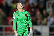 Justien Odeurs (GK) (Belgium) shows emotion having been beaten for England's equaliser, 1-1 during the Euro 2017 qualifier between England Ladies and Belgium Ladies at the New York Stadium, Rotherham, England on 8 April 2016. Photo by Mark P Doherty.
