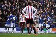 Everton players celebrate after Gerard Deulofeu (2nd right)  scores his teams 1st goal. Barclays Premier League match, Everton v Sunderland at Goodison Park in Liverpool on Sunday 1st November 2015.<br /> pic by Chris Stading, Andrew Orchard sports photography.