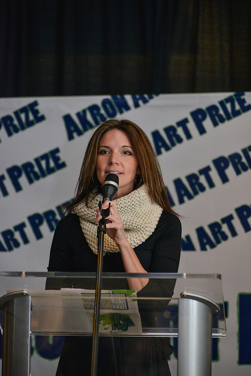 Suzie Graham, President & CEO of Downtown Akron Partnership, speaks at the Akron Art Prize 2014 Grand Finale at the Akron Art Museum.