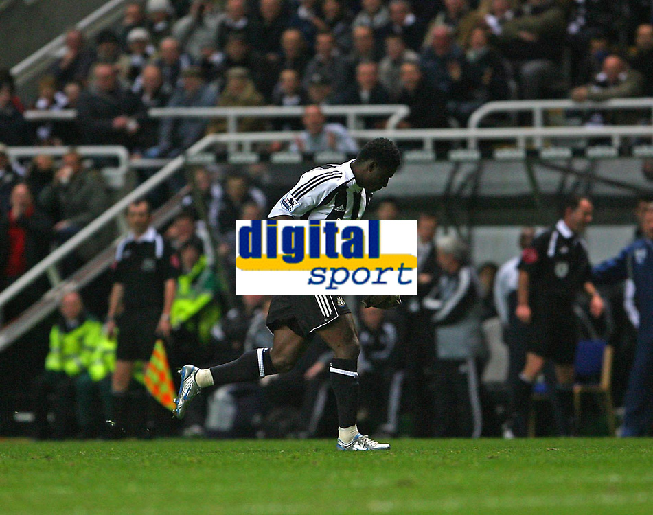 Photo: Andrew Unwin.<br /> Newcastle United v Reading. The Barclays Premiership. 06/12/2006.<br /> Newcastle's Obafemi Martins captures the bird that strayed onto the pitch.