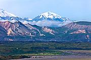 Denali, Alaska.  Peter's Dome and Thoroughfare River Bed
