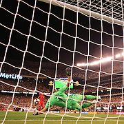 EAST RUTHERFORD, NEW JERSEY - JUNE 17: David Ospina #1 of Colombia saves a penalty from Miguel Trauco #6 of Peru in the penalty shoot out won by Colombia during the Colombia Vs Peru Quarterfinal match of the Copa America Centenario USA 2016 Tournament at MetLife Stadium on June 17, 2016 in East Rutherford, New Jersey. (Photo by Tim Clayton/Corbis via Getty Images)