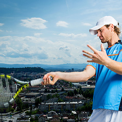 20140701: SLO, Tennis - Grega Zemlja and Blaz Kavcic at the top of the tallest building in Slovenia