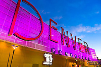 Denver sign, the Denver Pavilions (entertainment and shopping complex), Downtown Denver, Colorado USA