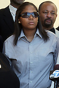 June 30, 2012, Los Angeles, CA: Tristain King attends the funeral of her father, Rodney King held at Forest Lawn Cemetery at Hall Liberty on June 30, 2012 in Los Angeles, California. Rodney Glen King was an American construction worker who became well known after being beaten harshly by Los Angeles police officers during a traffic stop on 3 March 1991. The non-gulity verdict of accused Police Officers ignited the LA Riots in 1992. (Photo by Terrence Jennings)
