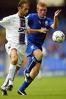 Photo Aidan Ellis.<br />Everton v Bologna (Colin Harvey Testimonial). 10/08/2003.<br />Everton's Nick Chadwick and Bologna's Marcello Castellini.