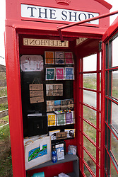 The Shop in the Box set up in old telephone box on Oa peninsula, Islay, Inner Hebrides, Scotland UK