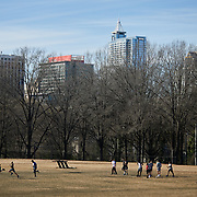 RALEIGH, NC - FEBRUARY 25: Students do sprints on the athletic field at John Chavis Memorial Park  on February 25, 2019 in Raleigh, NC. (Logan Cyrus for The New York Times)