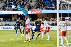 June 13, 2018 - San Jose, CA, U.S. - SAN JOSE, CA - JUNE 13: New England Revolution Goalkeeper Matt Turner (30) punches the ball away during the MLS game between the New England Revolution and the San Jose Earthquakes on June 13, 2018, at Avaya Stadium in San Jose, CA. The game ended in a 2-2 tie. (Photo by Bob Kupbens/Icon Sportswire) (Credit Image: © Bob Kupbens/Icon SMI via ZUMA Press)