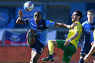 Wycombe Wanderers forward Uche Ikpeazu (9)battles for possession  with Norwich City midfielder Mario Vrancic (8) during the EFL Sky Bet Championship match between Wycombe Wanderers and Norwich City at Adams Park, High Wycombe, England on 28 February 2021.