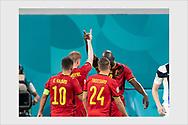 Romelo Lukaku and Kevin De Bruyne celebrate 0-2 goal. Finland - Belgium. Euro 2020. Saint Petersburg, June 21, 2021.