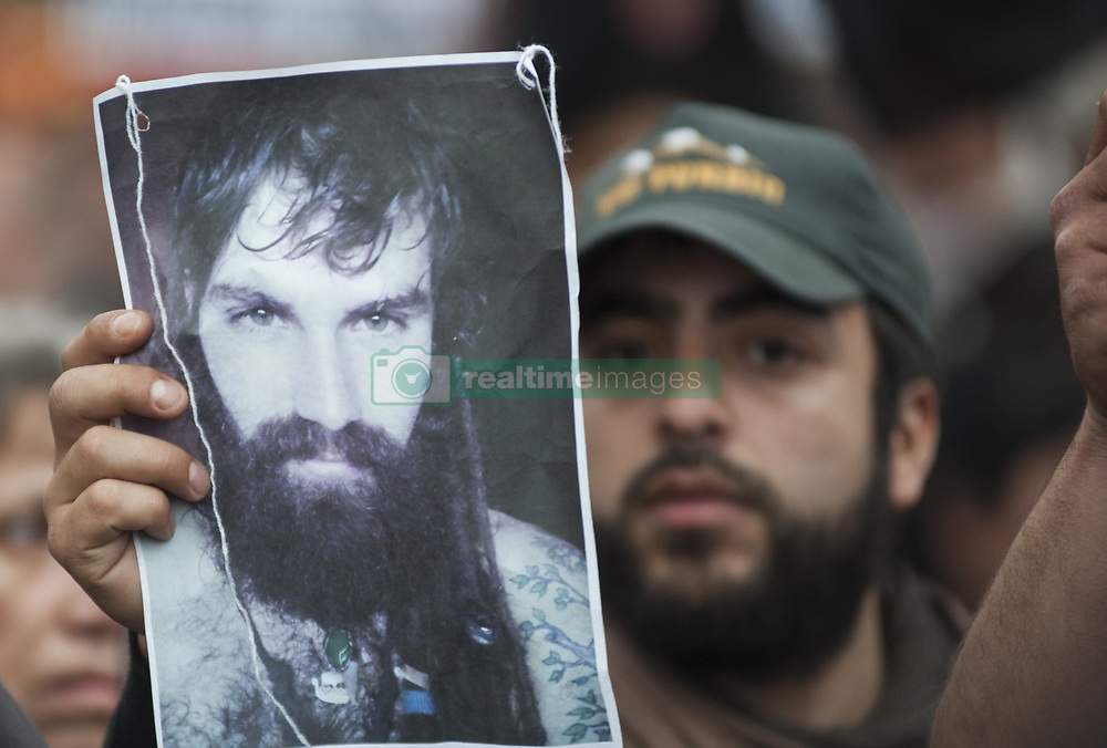 August 7, 2017 - Buenos Aires, Argentina - Protest against disappearance of Santiago Maldonado outside Congress in Buenos Aires, Argentina, Monday, August 7, 2017. Maldonado's family says Argentine border police captured Maldonado on August 1 during an operative to move Mapuche indigenous off land they have occupied since 2015. (Credit Image: © Gabriel Sotelo/NurPhoto via ZUMA Press)
