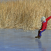 ICE SKATING. 8-year old Ben Wiltsie (MR) takes a tumble on Five Bridges pond. Owens Valley, CA.