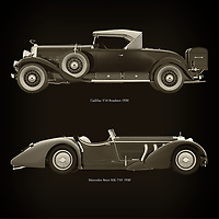 For the lover of old classic cars, this combination of Cadillac V16 Roadster 1930 and Mercedes -Benz SSK 710 1930 is truly a beautiful work to have in your home.<br />