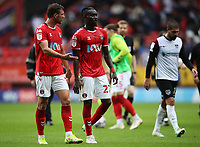 LONDON, ENGLAND - SEPTEMBER 25: Alex Gilbey (left) and Pape Souaré of Charlton Athletic during half-time of the Sky Bet League One match between Charlton Athletic and Portsmouth at The Valley on September 25, 2021 in London, England. (Photo by Ben Peters/MB Media)