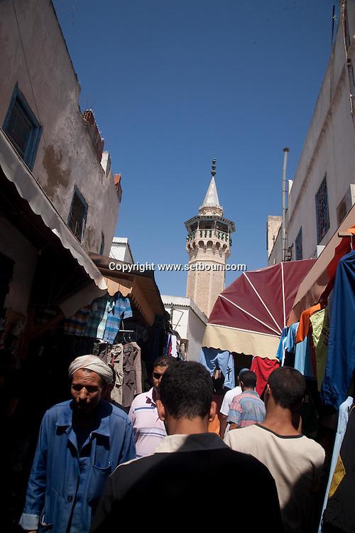 DYERS mosque in the soukh market in The Medina, the old historical city center  Tunis - Tunisie  .///.mosquee des teinturiers, souk . La medina , la vielle cité hsitorique, marché , bazar   Tunis - Tunisie .///.TUNIS005