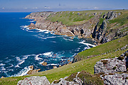 Sea cliffs on the west coast of Lundy island, Bristol Channel, U.K.