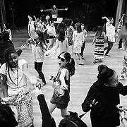 Junior camper Sophia Jones, 11, of Illinois, General Arts Major, dances during the first junior ice cream social dance party at the Penn Hall Annex at Interlochen Center for the Arts in Interlochen, Michigan.