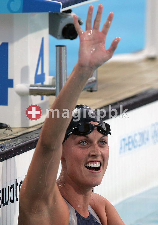 US swimmer Amanda Beard jubilates after taking the gold medal in the women's 200m Breaststroke final at the Athens Olympic Aquatic Centre, Thursday, 19 August 2004.      (Photo by Patrick B. Kraemer / MAGICPBK)