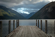 The Jetty at Kerr Bay in a chilly early evening, looking into the mountain ranges of Nelson Lakes National Park.