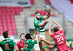Benetton Rugby's Marco Fuser claims the lineout<br /> <br /> Photographer Simon King/Replay Images<br /> <br /> EPCR Champions Cup Round 3 - Scarlets v Benetton Rugby - Saturday 9th December 2017 - Parc y Scarlets - Llanelli<br /> <br /> World Copyright © 2017 Replay Images. All rights reserved. info@replayimages.co.uk - www.replayimages.co.uk