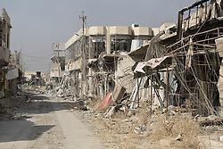 October 23, 2016 - Bartella, Nineveh, Iraq - An over grown and bomb damaged street is seen in the recently liberated town of Bartella, Iraq...Bartella, a mainly Christian town with a population of around 30,000 people before being taken by the Islamic State in August 2014, was captured two days ago by the Iraqi Army's Counter Terrorism force as part of the ongoing offensive to retake Mosul. Although ISIS militants were pushed back a large amount of improvised explosive devices are still being found in the town's buildings. (Credit Image: © Matt Cetti-Roberts/London News Pictures via ZUMA Wire)