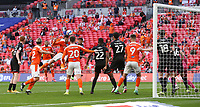 Blackpool's Gary Madine with a header towards goal<br /> <br /> Photographer Rob Newell/CameraSport<br /> <br /> The EFL Sky Bet League One Play-Off Final - Blackpool v Lincoln City - Sunday 30th May 2021 - Wembley Stadium - London<br /> <br /> World Copyright © 2021 CameraSport. All rights reserved. 43 Linden Ave. Countesthorpe. Leicester. England. LE8 5PG - Tel: +44 (0) 116 277 4147 - admin@camerasport.com - www.camerasport.com