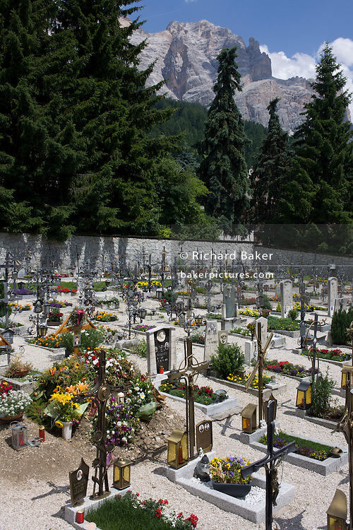 Cemetery in the Dolomites resort town of San Cassiano-St. Kassian in south Tyrol, Italy.