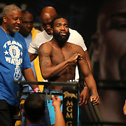 """Adrien Broner enters the stage during the official weigh-ins for the Mayweather versus Maidana boxing match slated as """"The Moment"""", at the MGM Grand hotel on Friday, May 2, 2014 in Las Vegas, Nevada.  (AP Photo/Alex Menendez)"""