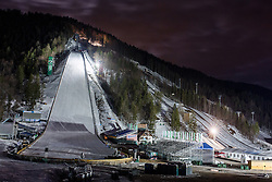 Ski jumping Flying hill by night Two days before FIS World Cup Ski Jumping Final, on March 16, 2016 in Planica, Slovenia. Photo by Matic Klansek Velej / Sportida
