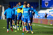 AFC Wimbledon attacker Ryan Longman (29) warming up prior to kick off during the EFL Sky Bet League 1 match between AFC Wimbledon and Hull City at Plough Lane, London, United Kingdom on 27 February 2021.