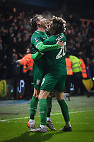 Football - 2019 / 2020 Emirates FA Cup - Fourth Round: Queens Park Rangers vs. Sheffield Wednesday<br /> <br /> Sheffield Wednesday's Sam Winnall celebrates scoring his side's second goal with Adam Reach, at Kiyan Prince Foundation Stadium (Loftus Road).<br /> <br /> COLORSPORT/ASHLEY WESTERN