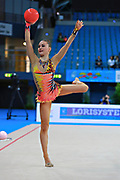 Kratochwill Spela during qualifying at ball in Pesaro World Cup at Adriatic Arena on 10 April 2015. Spela is a Slovenian individual rhythmic gymnast  born January 27, 1998 in Ljubljana, Slovenia.