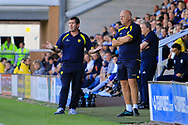 Burton Albion manager Nigel Clough and Burton Albion first team coach Andy Garner react during the EFL Sky Bet Championship match between Burton Albion and Cardiff City at the Pirelli Stadium, Burton upon Trent, England on 5 August 2017. Photo by Richard Holmes.