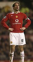 Photo Aidan Ellis. Digitalsport<br /> Manchester United v Portsmouth.<br /> FA Barclays Premiership.<br /> Old Trafford, Manchester.<br /> 26/02/2005.<br /> United's Ruud Van Nistelrooy has a sigh of releif as united scrape victory