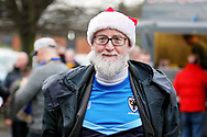 Wimbledon fan with a Christmas hat on before the EFL Sky Bet League 1 match between AFC Wimbledon and Plymouth Argyle at the Cherry Red Records Stadium, Kingston, England on 26 December 2018.