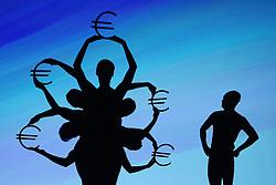 03.10.2015, Frankfurt am Main, GER, Tag der Deutschen Einheit, im Bild Schattenspielinszenierung beim Festakt in der Alten Oper Frankfurt zu Geschehnissen nach der Einheit 1990: Einführung des Euros // during the celebrations of the 25 th anniversary of German Unity Day in Frankfurt am Main, Germany on 2015/10/03. EXPA Pictures © 2015, PhotoCredit: EXPA/ Eibner-Pressefoto/ Roskaritz<br /> <br /> *****ATTENTION - OUT of GER*****