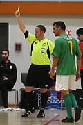 Yellow card in the Mens Futsal Superleague match, Central v Capital, Pettigrew Green Arena, Napier, Saturday, September 28, 2019. Copyright photo: Kerry Marshall / www.photosport.nz