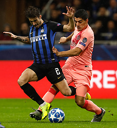 November 7, 2018 - Milan, Italy - Sime Vrsaljko (L) of Inter Milan and Luis Suarez of Barcelona \vie for the ball during the Group B match of the UEFA Champions League between FC Internazionale and FC Barcelona on November 6, 2018 at San Siro Stadium in Milan, Italy. (Credit Image: © Mike Kireev/NurPhoto via ZUMA Press)